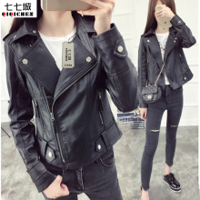 Women Faux Leather Jacket Latest High Quality Faux Leather Short Coat Woman Motorcycle Ladies Leather Women Jacket Black Heavy