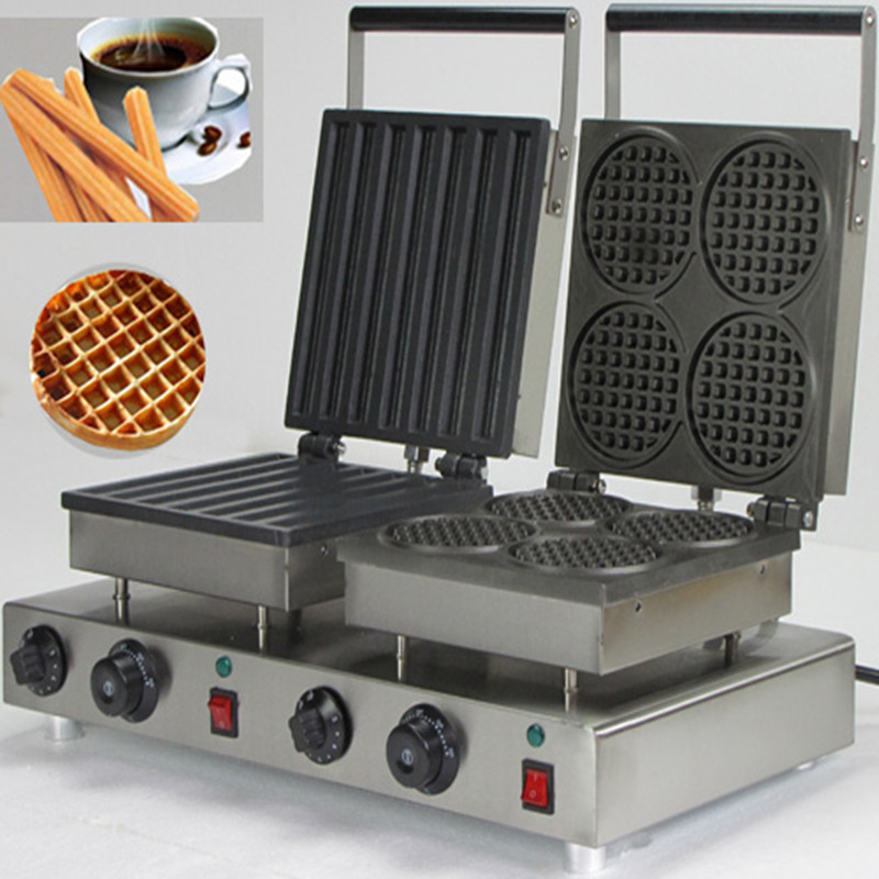 110V 220V Commercial Double Head Electric Lolly Waffle Round Muffin Waffle Maker Machine Non stick Churro