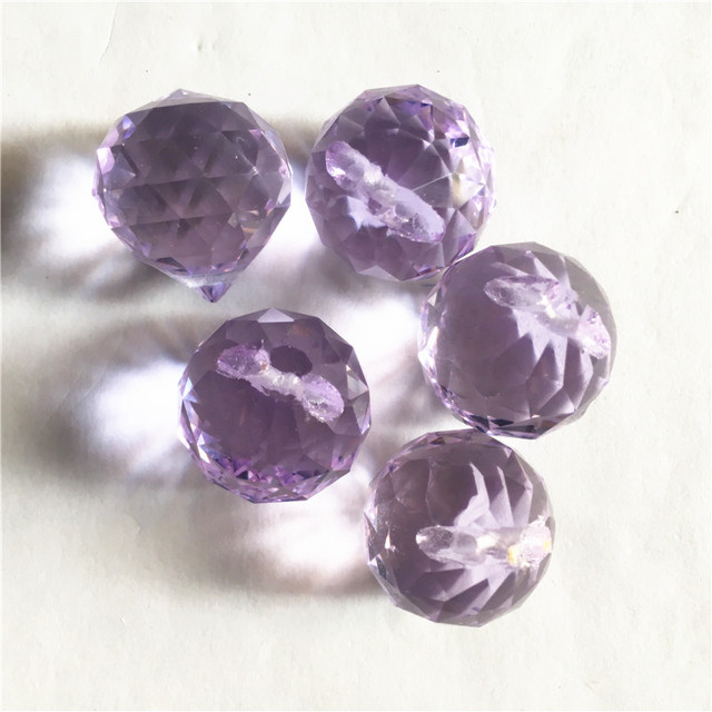 Sparkling 15mm 100pcs Light Purple Crystal Prism Pendant Lighting Hanging Accessories Glass DIY Balls For Wedding Decoration