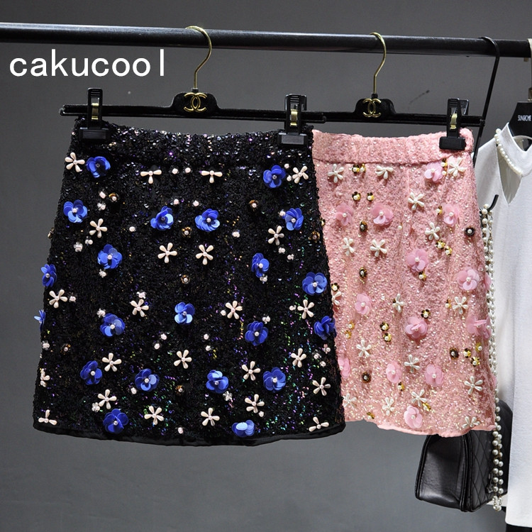 Cakucool Women Sequined Mini Skirt Floral Embroid Beading Bodycon Skirt Pink Sweet Bling Empire Sheath Summer European Skirts