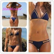 StarHonor Woman Strappy Solid Patchwork Beachwear Swimsuit Bandage Biquini Two-piece Bikinis Set Push Up Bathing Suit Swimwear