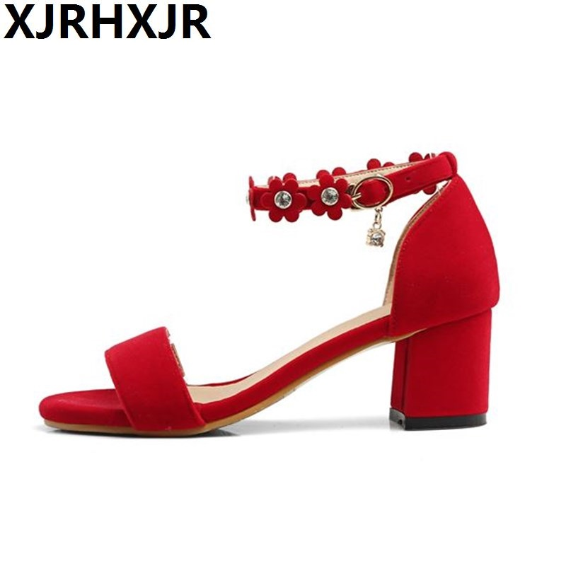 Spring and Summer New Fashion Shoes for Woman Sweet Sandals Thick Heels Ankle Strap Sexy Open Toe Work Casual Shoes Gladiator 2016 spring and summer free shipping red new fashion design shoes african women print rt 3