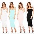 FD6509 Women Summer Tank top Slim Mid Calf Dress Vestidos Robe Solid color Elastic Daily Comfort Casual Dresses Cheap Clothes