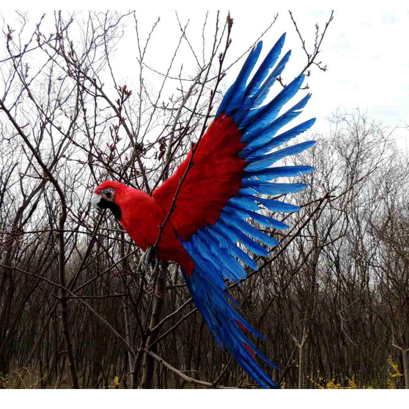 new simulation wings parrot toy plastic&fur red&blue parrot model gift about 45x60cm