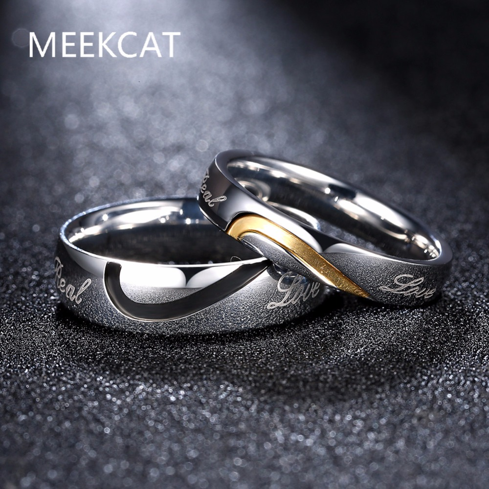 His And Hers Promise Ring Sets,fashion ,korean Couple Stainless Steel Engagement  Wedding Rings