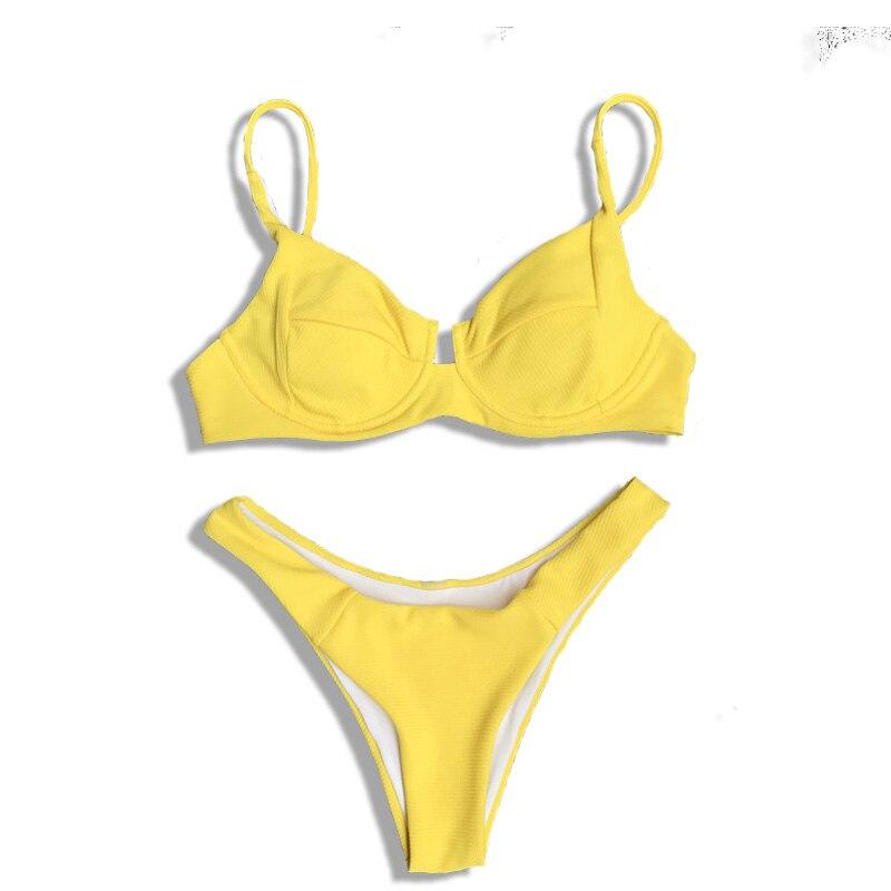 Beach Swimsuit Beachwear Bikini Set Bathing Suits Maillot New Sexy Solid Women Low Waist Bikinis Fits True To Size, Take Your