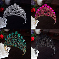 Design Woman Crystal Big Crown Tiara Wedding Hair Accessories Bride Statement Prom King Round Elegant Queen Pageant Hair Jewelry