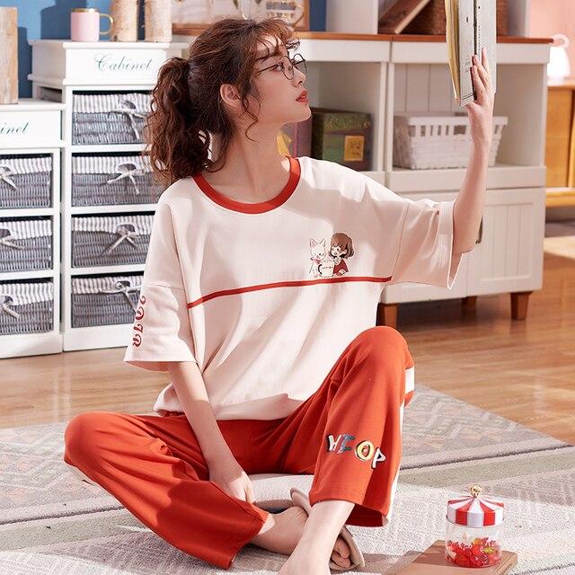 큰 야드 xxl 여성 잠옷 세트 100% 코튼 nightwear 봄 여름 짧은 소매 잠옷 o neck sleepwear 여성 pijamas mujer