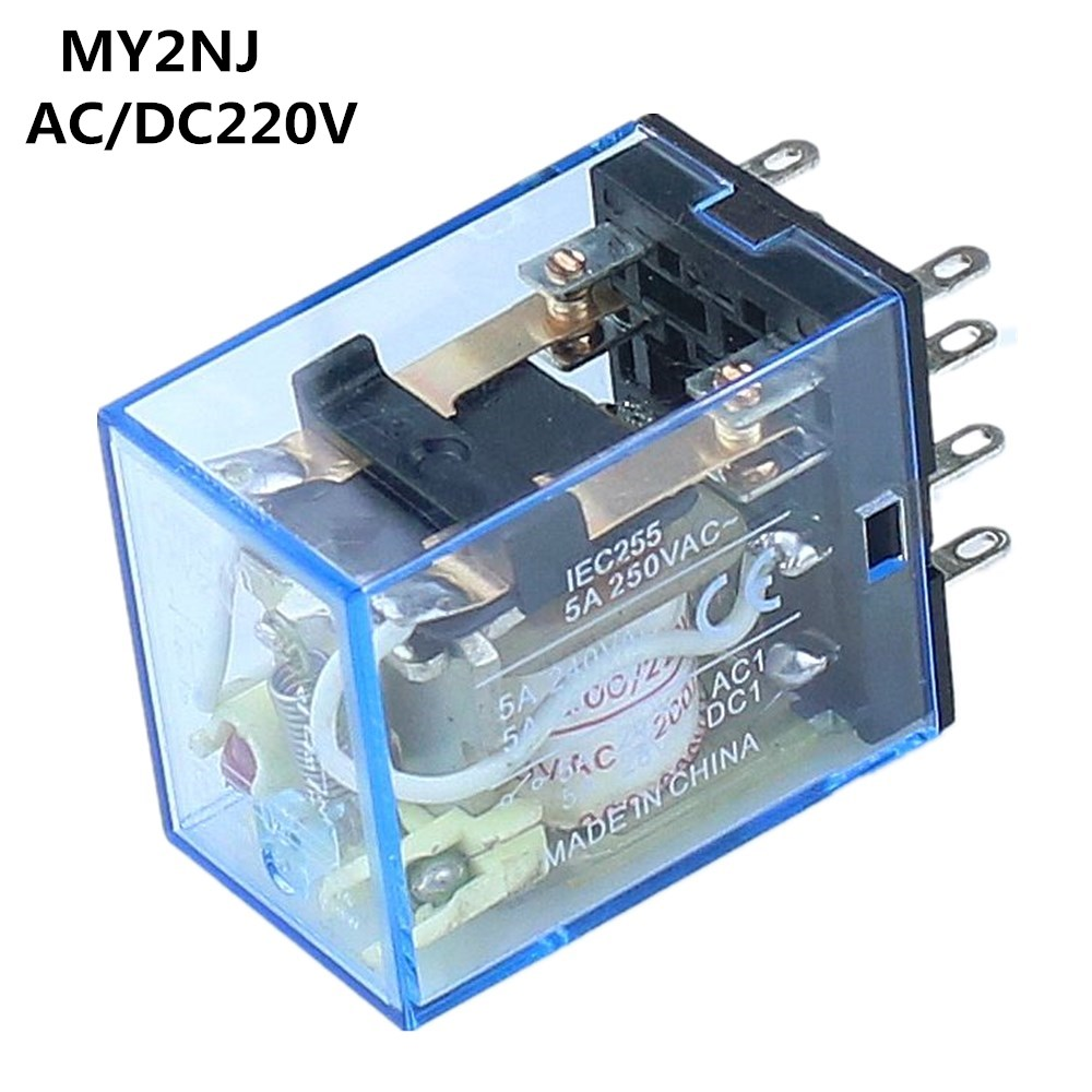 US $0 98 10% OFF|Free Shipping MY2P HH52P MY2NJ Relay Coil General DPDT  Micro Mini Electromagnetic Relay Switch with LED AC/DC 220V-in Relays from
