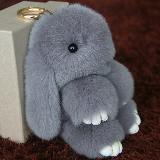 Pompom 18cm Big Rabbit Cute Imitation Fur Keychain Pendant Holder For Women,Pompom Car Bag Keychain Key Ring Pendant