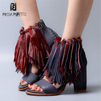Prova Perfetto Genuine Leather Horsehair Women Summer Sandals Tassels Chunky High Heels Gladiator Sandal Fringed Women