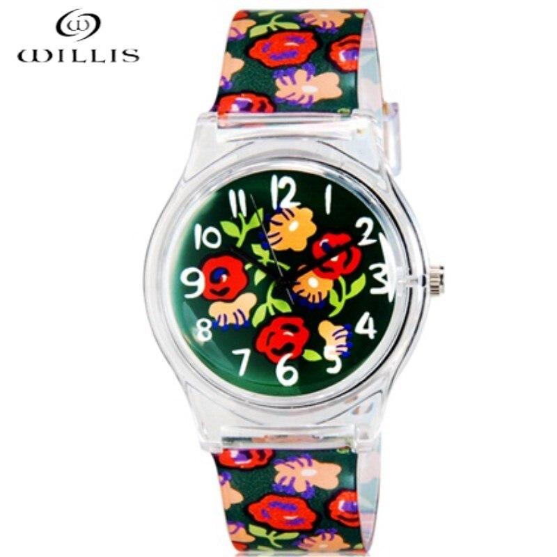 WILLIS fashion Brand Women Watches Waterproof Roses Pattern Analog Quartz Women Wristwatch  Waterproof girl Silicone Watches