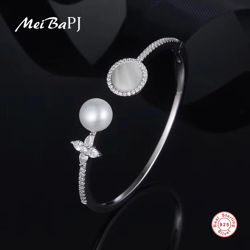 MeiBaPJ Real 925 Sterling Silver Fashion Bangle for Women Natural Freshwater Pearl Shell Bracelet Fine