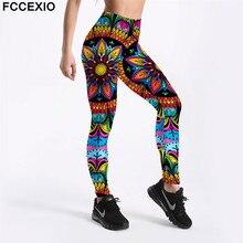 FCCEXIO New Women Workout Leggings High Waist Fitness Legging Colorful Mandala Floral Print Leggins Female Pants Mujer