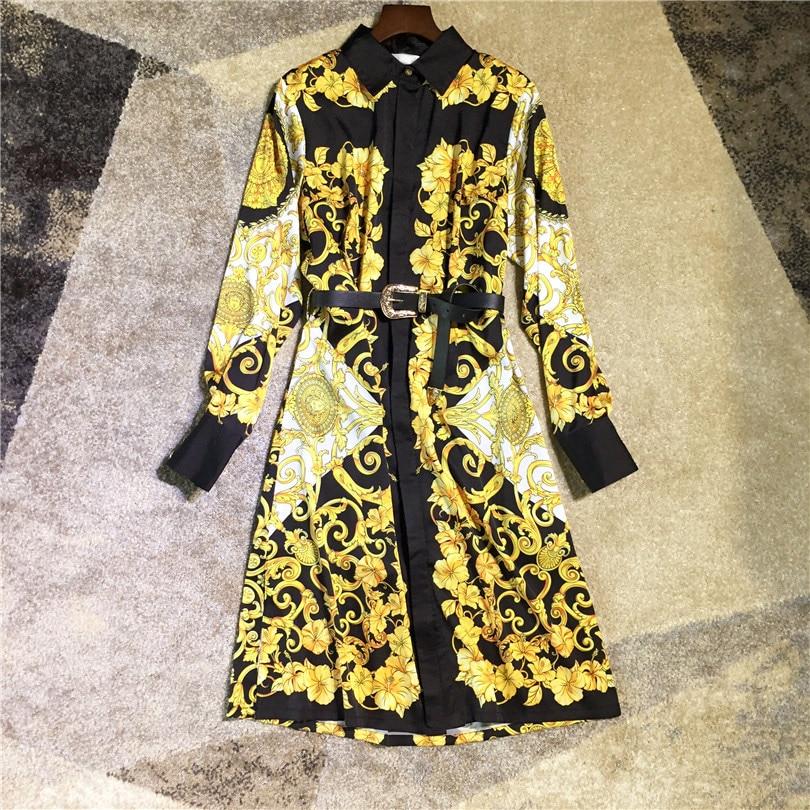 Automne Manches Femmes Jaune Piste Robe À Habille Marque La De 2018 Nouvelle Longues Mode Imprimer Ceinture Haute Vintage Qualité qpUp8B