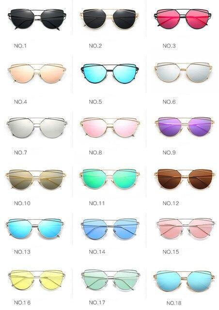 2018 Sunglasses Women Luxury Cat eye Brand Design Mirror  Rose New Gold Vintage Cateye Fashion sun glasses lady Eyewear  2