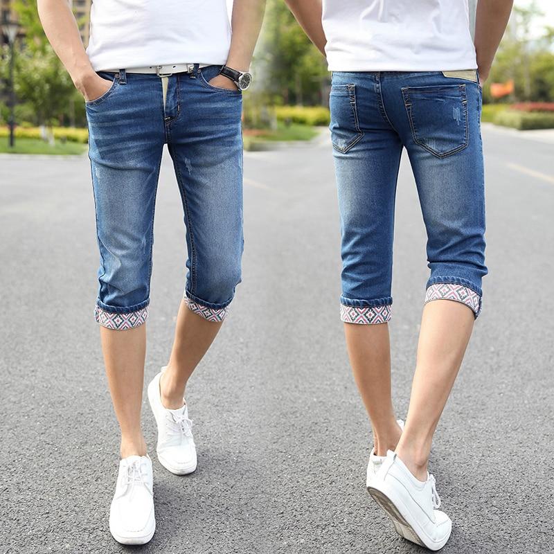 2015 Summer Style Men Flanging Printed Denim Shorts / Short jeans ...