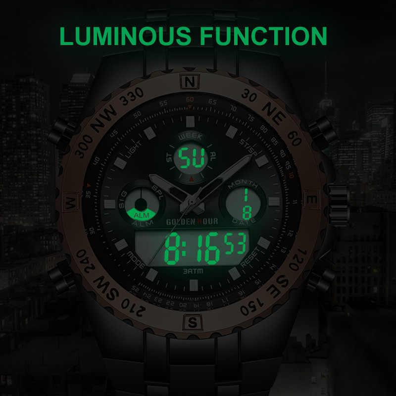 Reloj GOLDENHOUR мужские часы quartzt цифровые спортивные часы мужские часы с двумя дисплеями наручные часы светящиеся мужские часы Relogio Masculino