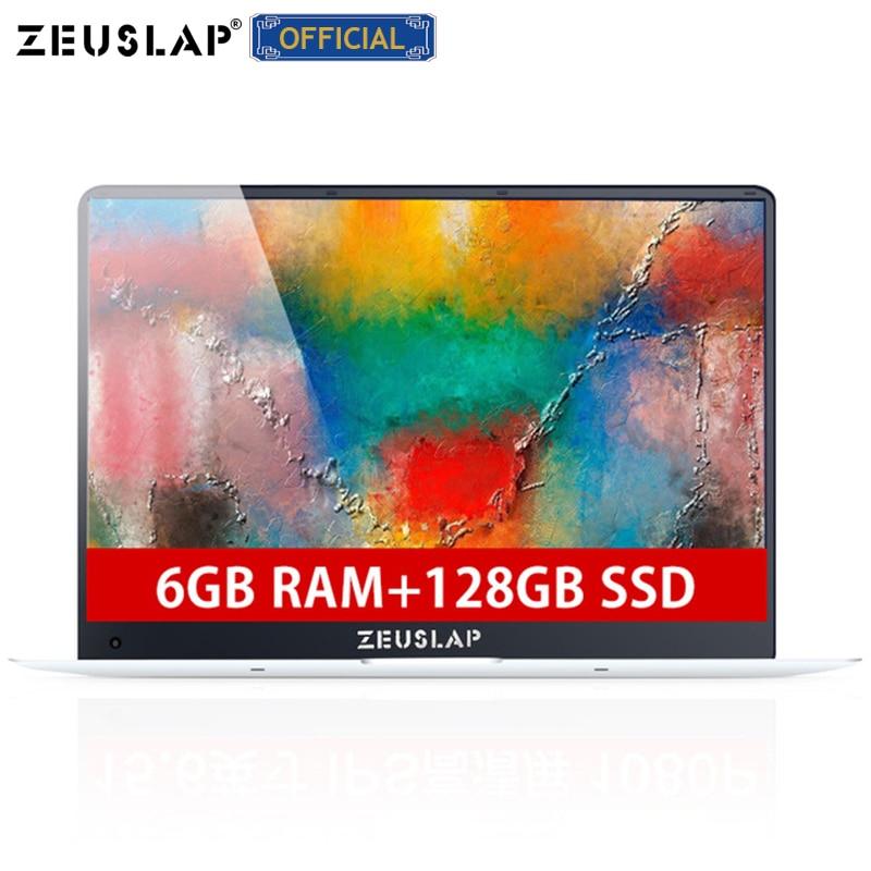 ZEUSLAP-X5 15.6 polegada 1920X1080 P 6 GB de Ram + 128 GB SSD Windows sistema 10 Ultrafino Quad Core inicialização rápida Laptop Netbook Computer