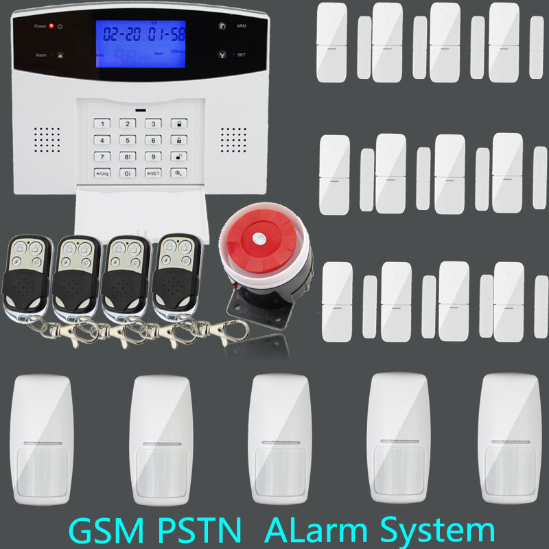 GSM PSTN Home security Alarm systems with wireless gap detector+wireless Infrared Detector+ Remote Control GSM home Alarm System