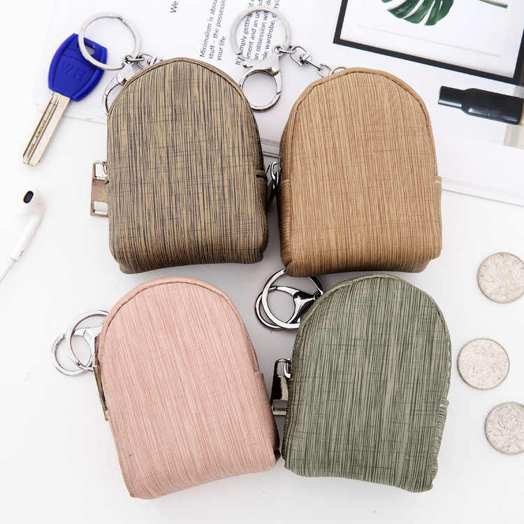 Women Girls Mini PU Backpack Coin Bag Wallet Hand Pouch Purse Car Key Case Mini Card Bag Holder Organizer With Keyring