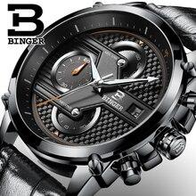 Reloj de Los Hombres de lujo de suiza BINGER marca Diseñador Cronógrafo de cuarzo Dial Grande reloj de Pulsera Resistente Al Agua B-9018-5