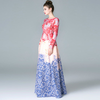 HIGH QUALITY New 2015 Runway Maxi Dress Women S Long Sleeve Sweet Floral Printed Celebrity Party