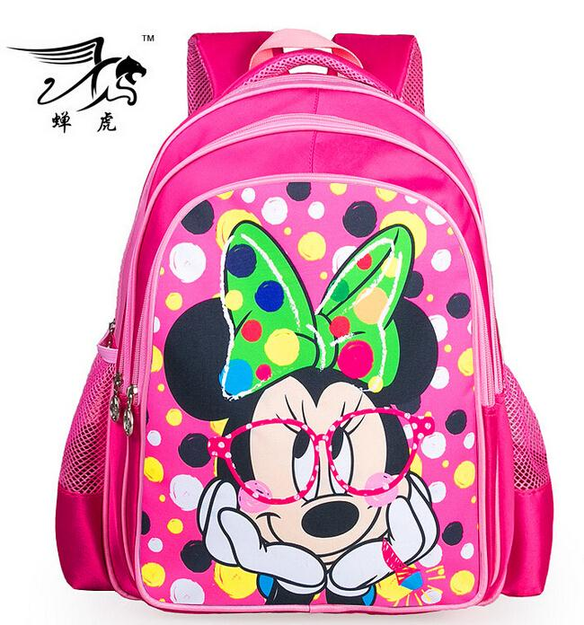 2015 New Minnie Mouse Printing Children School Bag Cartoon