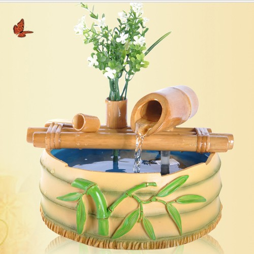 Indoor Water Fountain Water Crafts Small Ornaments Lucky Bamboo Aquarium  Humidifier Creative Home Decorations
