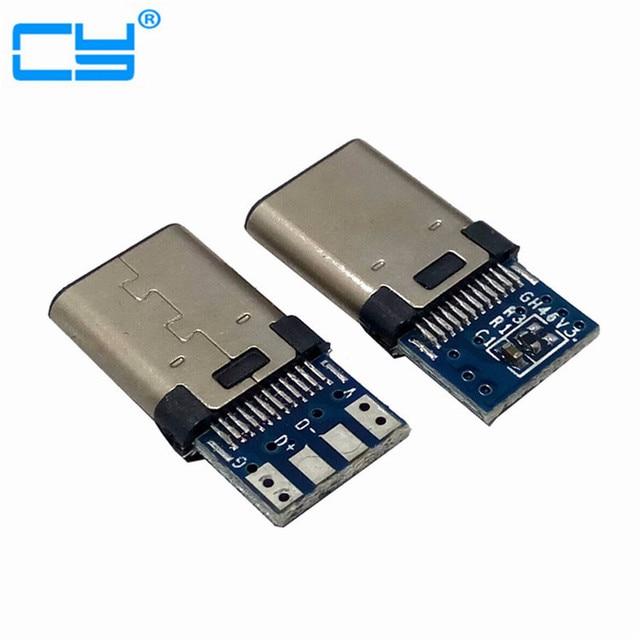 10 teile/los DIY 24pin USB 3.1 Typ C USB-C Männlich schweißen löten Steckverbinder SMT Typ