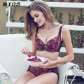 Sexy Intimates Floral Lace Embroidery Women Push Up Bra & Brief Set 3/4 B C Thin Cups Adjustable Bra & Sexy Panties Underwear