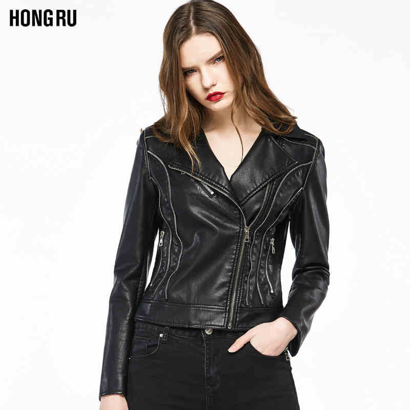 Fashion brand zipper stitching PU   leather   jacket new female motorcycle outerwear jacket was thin pu jacket wq1236 dropship