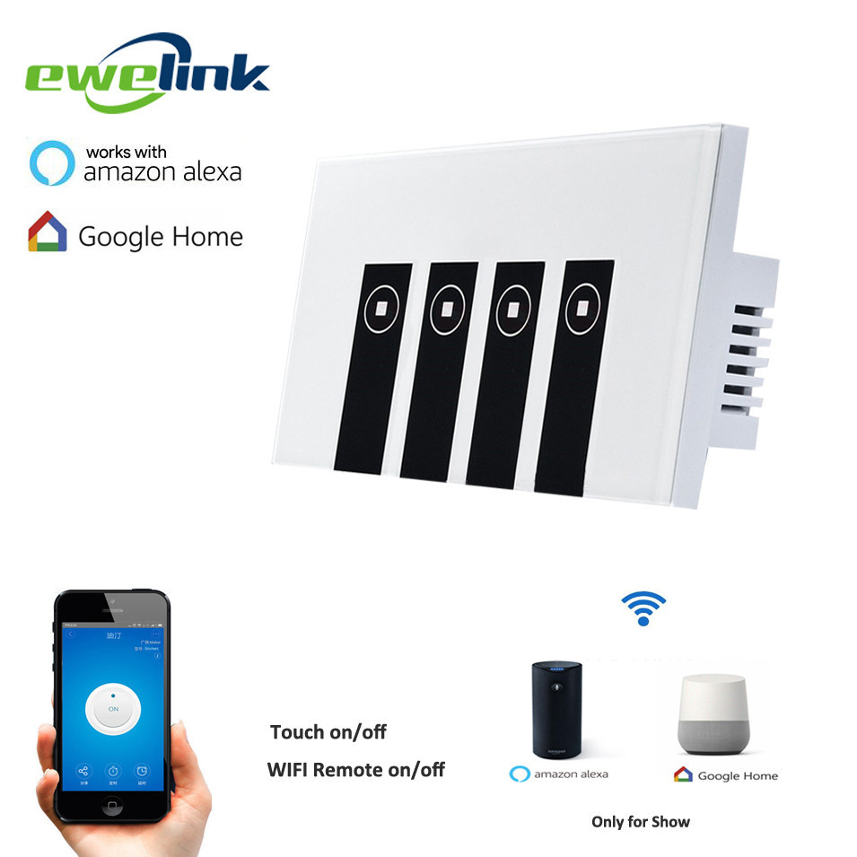 Ewelink US Type 4 gang wall light app switch, touch control panel, wifi remote control via smart phone,work with Alexa/Ewelink ewelink us type 2 gang wall light smart switch touch control panel wifi remote control via smart phone work with alexa ewelink