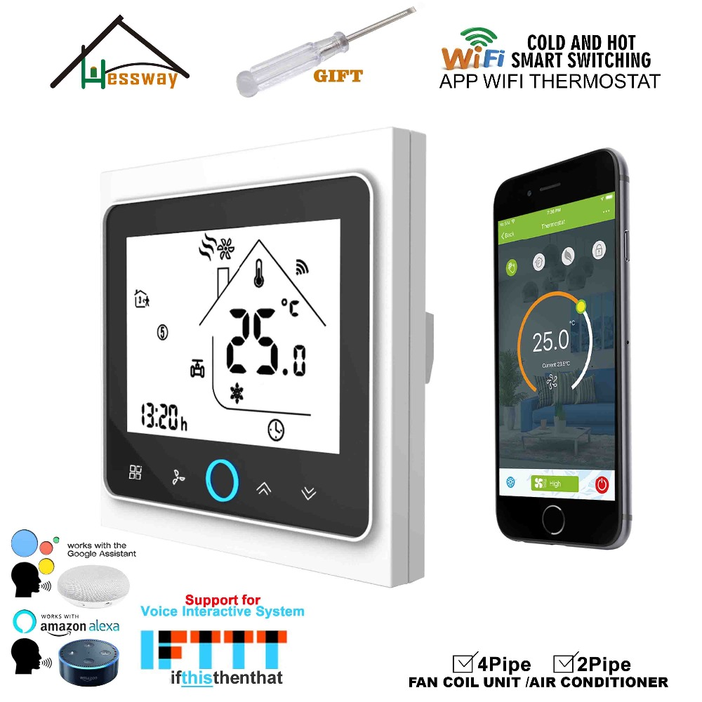 HESSWAY WIFI mobile APP remotely controls the home temperature control thermostat switch for fan coil heat cool-in Air Conditioner Parts from Home Appliances