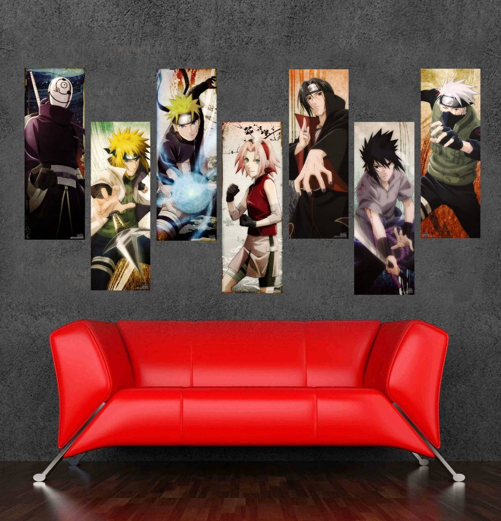 7 delar Ställ in högkvalitativ japansk tecknad Cuadros oramad kanfas Oljemålning Cartoon Wall Art Picture Home Decoration