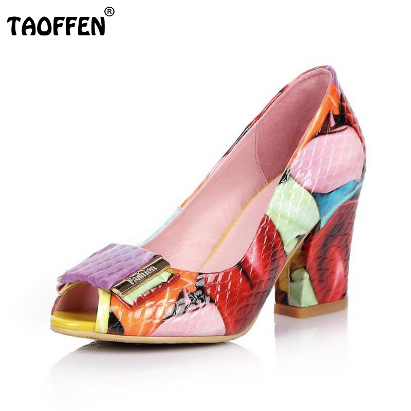 TAOFFEN Women High Heels Shoes Real Leather Peep Toe Pumps Mixed Color Shoes Women Bowknot Shoes Daily Footwear Size 33-44