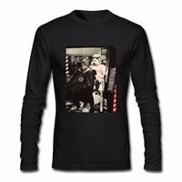 Star Wars Stormtrooper Chewbacca Barber Shop Photo Long Sleeve Men Tee Shirt Hip Hop Top Tees Crew Neck For Mens White T Shirt