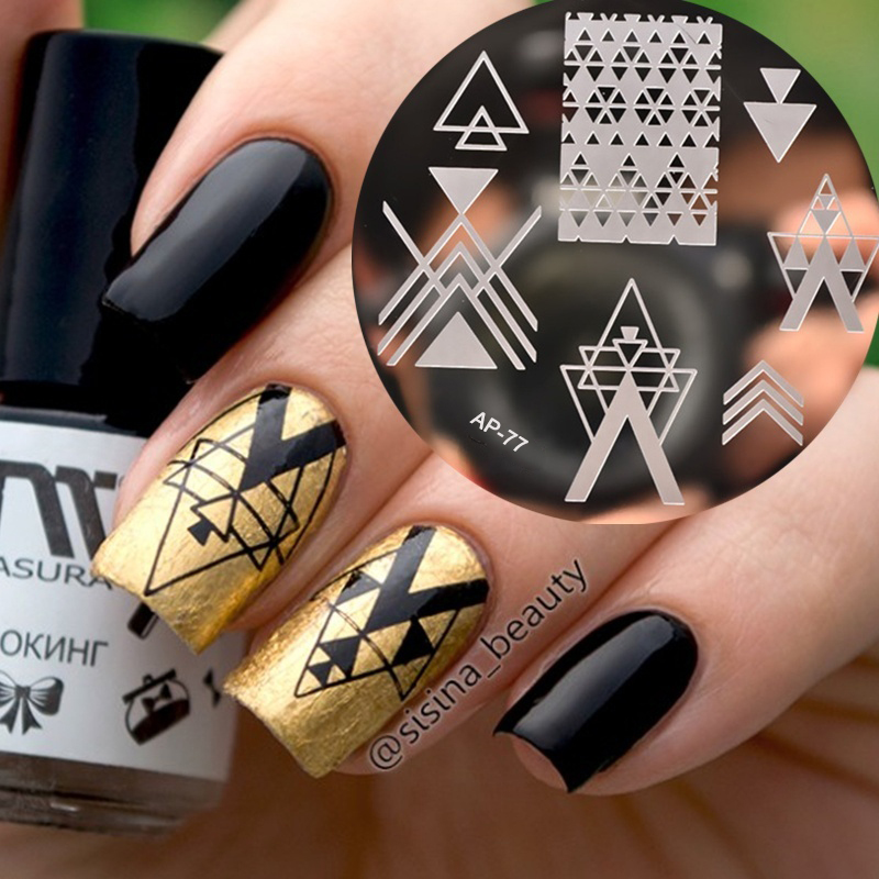 Pandox Negative Space font b Nail b font Art Stamping Stamp Template Image Plates Cool Triangle