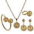 Dubai Colar de Pingente Cuff Bracelet Bangle Banhado A Ouro Bola Jóias Set Beads Africanos conjunto de Jóias Nigeriano