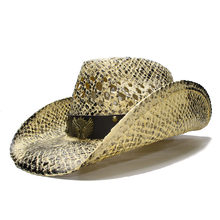 LUCKYLIANJI vintage Women s Men s Summer Straw Beach Wide Brim Cowboy  Western Cowgirl Hat Hollow Guns Sign Leather Band(Adjust) cb8ed7cc0408