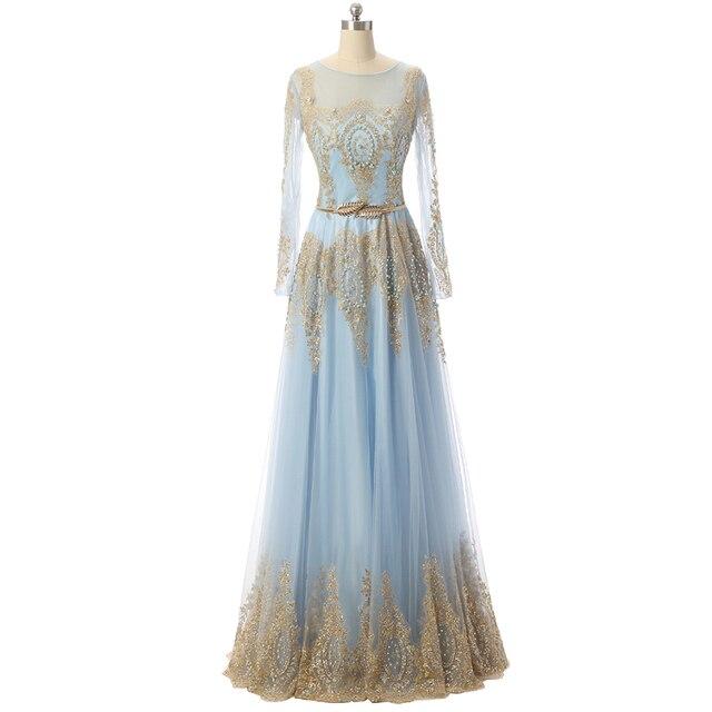Langarm hellblaue prom dress mit gold spitze a line bodenlangen ...