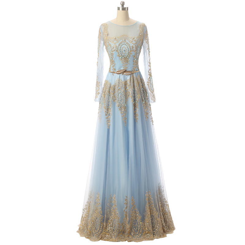 Long Sleeve Light Blue Prom Dress With Gold Lace A Line Floor Length