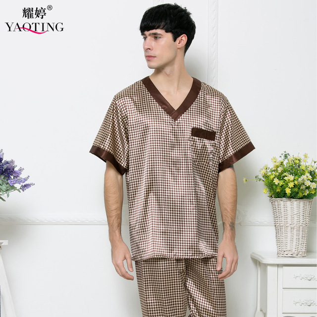 Мужская Шелковый Атлас Пижамы Набор Пижамы пижамы Ночной Рубашке 2 Шт. Мужчин Пижамы Халаты Халаты Для Мужчин Ночное Рубашки TZ165