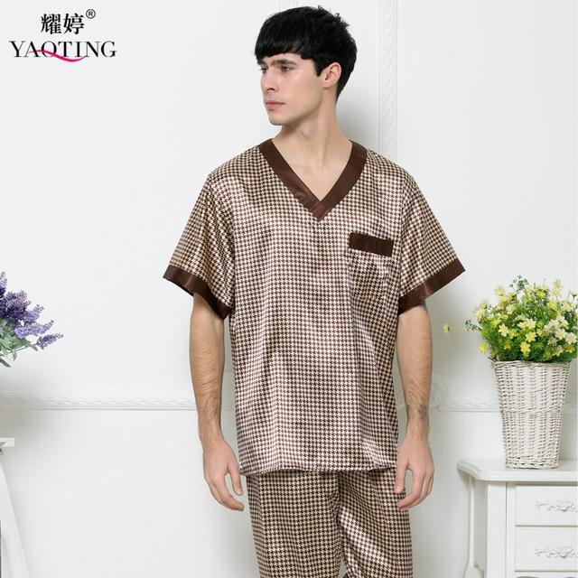 Mens Pijama de Cetim de Seda Conjunto de Pijama Pijama Camisola 2 Pcs Homens Pijamas Roupa Nightdress Robes Roupões Para O Sexo Masculino TZ165