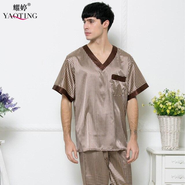 Mens Silk Satin Pajamas Set Pajama Pyjamas Nightgown 2 Pcs Men Sleepwear Robes Bathrobes For Male Nightwear Nightdress TZ165