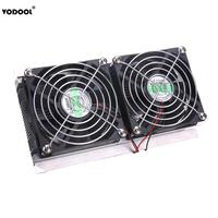 12V Thermoelectric Peltier Refrigeration Cooling System Kit Cooler 2 x Double Fan DIY Computer Components Cooling Fan Radiator