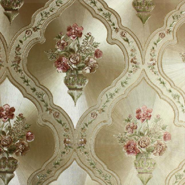 Italian Flower Metallic Wallpaper Embossed PVC Wallpaper