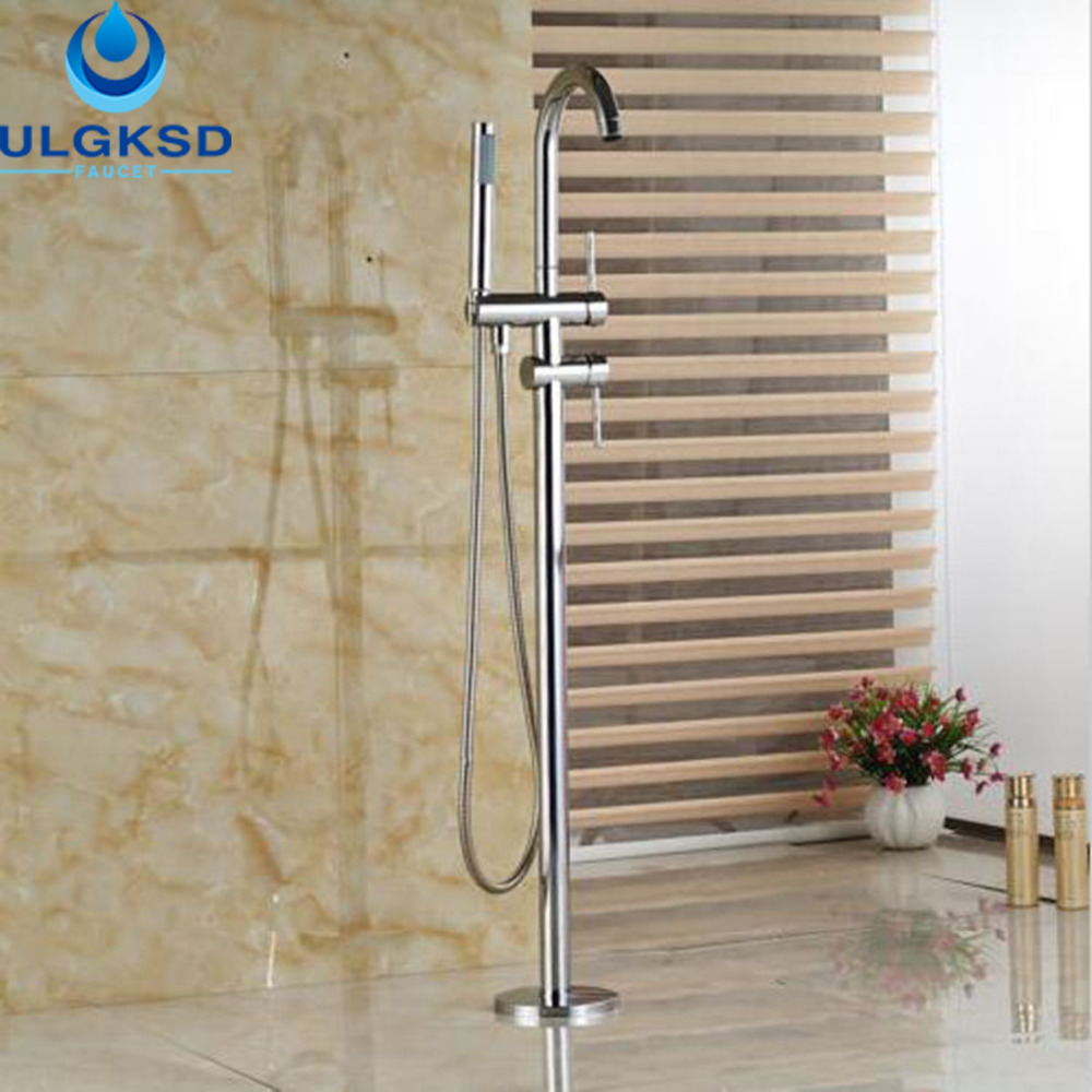 Ulgksd Luxury Floor Stand Faucet Floor Mounted Bathtub Tub Faucet Tub Filler Bathroom Faucet Shower Faucet Hand Mixer Tap gappo classic chrome bathroom shower faucet bath faucet mixer tap with hand shower head set wall mounted g3260