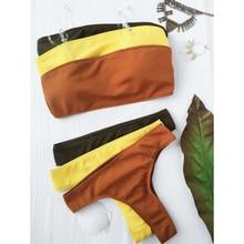 New Style Rib Texture Bandeau Bikini Set Brazilian