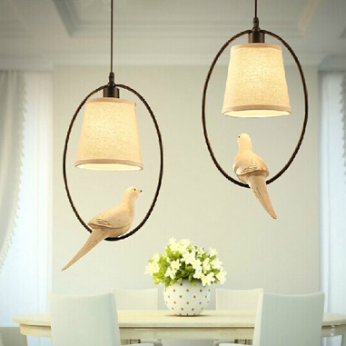 American Country Bird Droplight Modern Pastoral Birds Pendant Lights Fixture Home Indoor Dining Room Bedroom Cafes Hanging Lamps modern home decoration bird pendant lights for dining room bar bedroom cloth iron country style pendant lamp lighting fixture